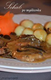 Przepisy Magdy: Schab po myśliwsku Beef, Chicken, Food, Meat, Meals, Ox, Yemek, Buffalo Chicken, Eten