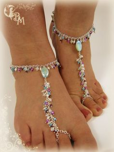Moonstone, Garnet and Pearl Beaded Barefoot Sandals~ I can imagine these would take forever to make with chain...but they are incredible...I WANT!