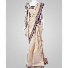 Natural colored tussar silk saree
