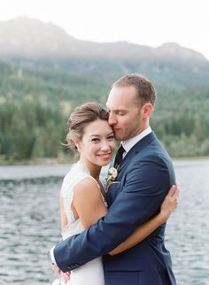"Join the beautiful Bride and Groom as they say ""I Do"" in this stunningly rustic, navy-infused lakeside wedding in Whistler, BC! Wedding Photo Images, Wedding Photo Books, Wedding Couple Photos, Wedding Couples, Wedding Stuff, Bridal Poses, Wedding Photography Packages, Lakeside Wedding, Wedding Photography Inspiration"