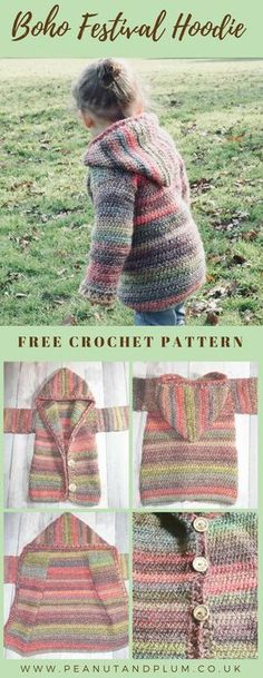 Crochet Hoodie free pattern! A stylish and warm unisex Bohemian hooded jacket with beautiful, earthy tones and super-soft texture. Size 12m - 12 years. #crochet #CrochetPatternsFree #FreeCrochetPattern #CrochetHoodie #CrochetClothing #boho #bohemian #ChunkyHoodie #ChunkyYarn #PeanutAndPlum #HandmadeClothing #UnisexClothing #unisex #soft #marble #eco #CrochetForBeginners #CrochetHoodiePatternFree
