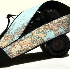 World Map Camera Strap.  Canon Camera Strap. Nikon by Burvesrotas, $30.00