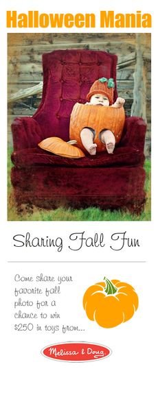 """{Fall Fun} How sweet is this """"little pumpkin""""? We'd love to see a photo of your little one too, share it with us here: http://www.facebook.com/MelissaAndDoug/app_413258325390728?ref=ts"""