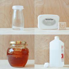 DIY: Personalized Honey Jar...using jam jars, wine bottles, candle holders, etc.  :)   ~ via Design Sponge