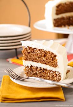 {carrot cake with cream cheese frosting} stop! your search is over for the perfect carrot cake & frosting. so yummy! could easily reduce frosting by 1/3 and possibly half. think of all the calories you save - enough for a second piece, I say!