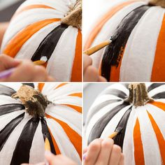 For this week's chic take on pumpkins, we turn to two of our favorite DIY tricks: stripes and studs! By combining black and white stripes with gold polka dots (by way of studs), we've created a suite of pumpkins chic enough for the most sophisticated of soirees.