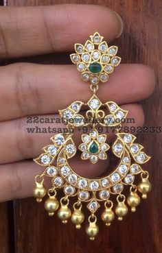 Silver Latest Chandbalis with CZ Stones Fancy Jewellery, Gold Jewellery Design, Gold Jewelry, Jewelry Box, Gold Jhumka Earrings, Gold Earrings Designs, Gold Designs, Gold Necklace, Indian Wedding Jewelry