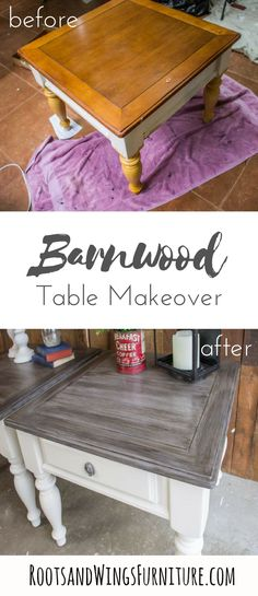 Transform end tables from and orange pine finish to barnwood beautiful! How to paint farmhouse style furniture is all right here. Tutorial by Jenni of Roots and Wings Furniture. furniture kitchen Farmhouse End Table Makeover Farmhouse End Tables, Redo Furniture, Farmhouse Style Furniture, End Table Makeover, Home Decor, Repurposed Furniture, Home Diy, Furniture Makeover, Wood Furniture Living Room