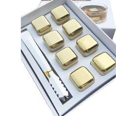 8 Pcs/lot Golden Whisky Steel Ice Cooler Whiskey Stainless Stones For Whiskey Beer Bar Household Wedding Gift Favor Christmas
