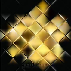 Abstract Black Gold Square Background Template