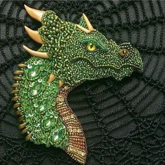 #dragon #jewelry Fantasy green dragon pin