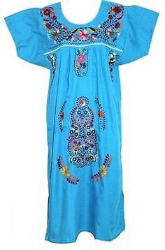 Any Color Embroidered Mexican Dress Vintage Tunic Peasant S M L XL XXL PLUS SIZE