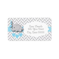 Baby Blue, White and Gray Elephant Baby Shower Label