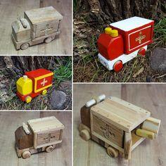 Holzspielzeug - Krankenwagen Holzspielzeug - ein Designerstück von Hoelzene-Kunst bei DaWanda