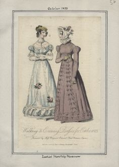 Abendkleid (links) und Promenadenkleid (rechts), Ladies' Monthly Museum Oktober 1823