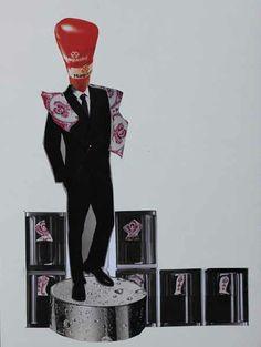 Ceramic boxer / collage art by alexandre santacruz art