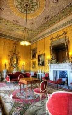 The Yellow Drawing Room promotes the consistency of motif that Robert Adams regularly sought after. The star and circle on the carpet echo the ceiling to create a beautiful mirrored room. Yellow silk for the walls was bought and Adam was obliged to re-vamp the colour scheme. Furthermore, two splendid mirrors by Thomas Chippendale dominate the room.