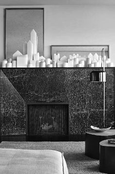 M :: Marble fireplace in a parisian apartment by the Studio KO. Photo David Giroire