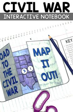 Civil War Map and Activities Social Studies Projects, Social Studies Notebook, Social Studies Classroom, Social Studies Activities, Classroom Activities, Teaching Resources, Teaching Ideas, Civil War Activities, American History Lessons