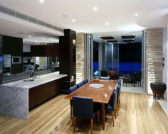 Navy Chairs & wood table And Ultramodern Dining Room Decorations