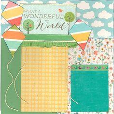 2 page Scrapbooking Layout Kit What a Wonderful by CropALatteToGo #scrapbooking #kites springtime kit