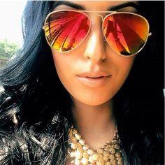"""58mm """"Womens Aviator Sunglasses"""" GOLD w/ RED FIRE MIRROR LENS girls cop pilot #DeadStock #Aviator"""