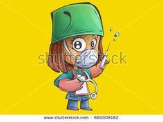 Cartoon nurse ready to give injection