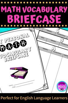 Help your students stay organized and understand new math terms and vocabulary with this math vocabulary briefcase. Students can organize new words in math class in alphabetical order for easy reference all year. Perfect for English Language Learners!  Click here to grab this math vocabulary words organizer for elementary middle and high school students!  #backtoschool #ellstudents #mathteacher #teacherresources 5th Grade Math, Math Class, Math Teacher, Teacher Resources, Ell Students, High School Students, Help Teaching, Teaching Math, Math Vocabulary Words