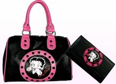 Officially Licensed Betty Boop Synthetic Leather Satchel/ Wallet Set- Black/Pink