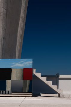 Mirrors and coloured glass installed on Le Corbusier's Cité Radieuse rooftop.