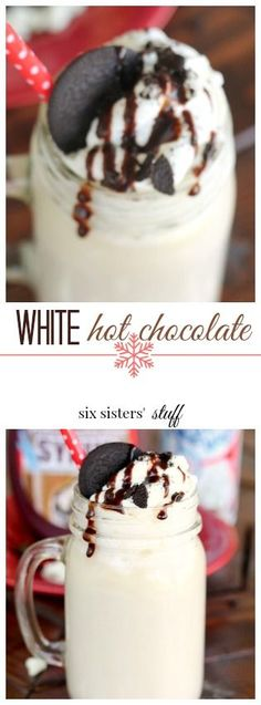 White hot chocolate recipe from @sixsistersstuff | the best Christmas dessert idea.