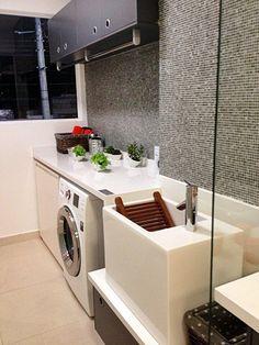 Lavanderias... Pequenos espaços com soluções charmosas e inteligentes