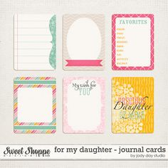 for my daughter journal cards by Jady Day Studio