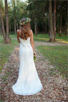 Beautiful bride in strapless dress and floral halo.  Captured By: Anna Veretennikova ---> http://www.weddingchicks.com/2014/05/28/wedding-chicks-happy-hour-6/