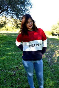 Romwe: Merci Sweatshirt   Jeans