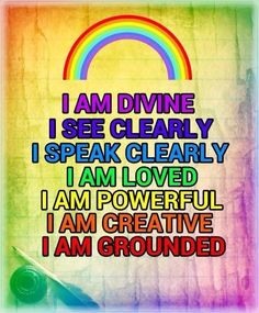 Chakra affirmations - All the colours of the rainbow affirmations