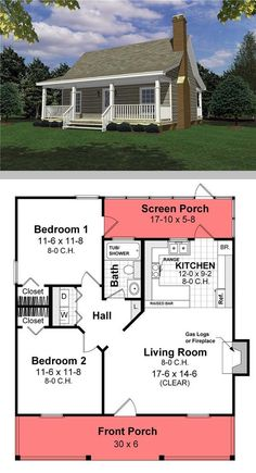 Small house Cool House plan 26434 2 bdrm 1 bath fireplace screened porch But only tw Small house Cool House plan 26434 2 bdrm 1 bath fireplace screened porch But only tw Anna Schweidler nbsp hellip Building A Small House, Small House Floor Plans, Cabin House Plans, Cabin Floor Plans, Tiny House Cabin, Best House Plans, Dream House Plans, Tiny House Design, Small Cottage Plans