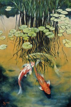 Their spectacular colors and patterns are part of the reason that koi fish are loved today and treasured by their owners. Colors of a koi fish should be bright. Koi Carp Fish, Fish Ponds, Koi Art, Fish Art, Koi Painting, Acrylic Paintings, Goldfish Pond, Japanese Koi, Lily Pond