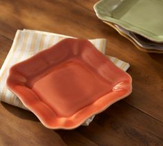 "Cambria Tidbit Plate, Set of 4 | Pottery Barn 5.5"" square persimmon"