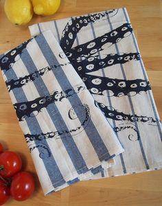 Set of 2 - OCTOPUS Tentacles - Navy & Blue Stripe Towels - Renewable Cotton