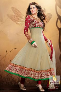 Beige and maroon Party wears Salwar suit Semistitched with pure chiffon dupatta and heavy embroidery work and bottom or dupatta less border Patti.