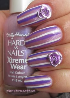 Purple Stripes! Sally Hansen Hard As Nails Xtreme Wear - Violet Sparks eBayed Nail Art Pen - Dark Purple Nubar Nail Art Pen - Basic White eBayed Metallic Roses Seche Vite Top Coat
