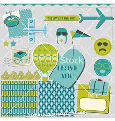Scrapbook design elements - airplane party set vector - by woodhouse84 on VectorStock®