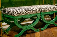 Ottomans in emerald green and leapord print!