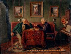 VALENTA Ludwig (1882 – 1943) Two Men Playing Chess in Parlor.
