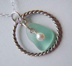 Sea Glass Necklace  Aqua Beach Glass Jewelry by BeachGlassMemories, $23.98