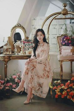 Korean Fashion Dress, Korean Dress, Asian Fashion, Fashion Dresses, Girly Outfits, Classy Outfits, Stylish Outfits, Dress Outfits, Teenage Outfits