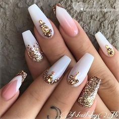 ✨ White Glitter Ombre on long Coffin Nails ✨•💅 Nail Artis -