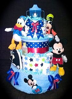 Four tier Disney diaper cake for baby shower centerpiece or gift by Little KGs dreams