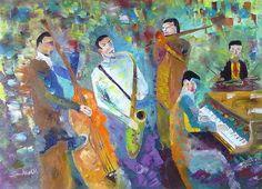 Jazz Band foi pintada com uma espátula e tinta óleo. Uma homenagem à musica e ao pintor Leonid Afremov.